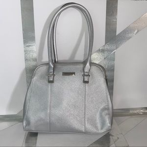 Reaction Kenneth Cole Shiny Metallic Silver Bag
